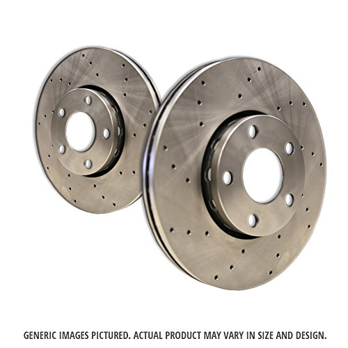 Ford Cross Drilled Rotor ((Front Rotors)2 Heavy Duty Cross Drilled Extra-Life Premium Disc Brake Rotors(Ford)(5lug))