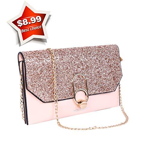 Women's Party Bag Clutch Purse Sequins Shoulder Bag Envelope Phone Wallet Wedding...