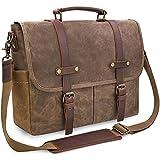 Mens Messenger Bag 15.6 Inch Waterproof Vintage Genuine Leather Waxed Canvas Briefcase Large Satchel Shoulder Bag Rugged Leather Computer Laptop Bag, Brown