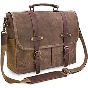 bc645c2d2e86 Amazon.com  Mens Messenger Bag 15.6 Inch Waterproof Vintage Genuine ...