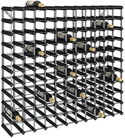 vidaXL Madera Maciza de Pino Botellero Armario Soporte Vino Vinoteca Estante Organizador Portabidones Colocación Decoración para 120 Botellas Negro