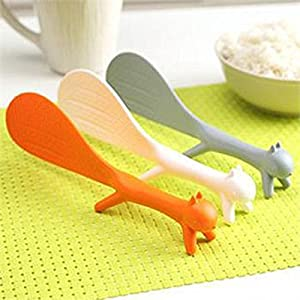 Ayutthaya shop 1 PCS Lovely Kitchen Supplie Squirrel Shaped Ladle Non Stick Rice Paddle Meal Spoon ( random)