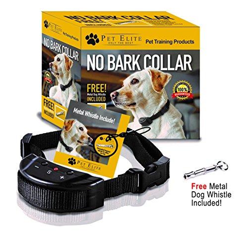Pet Elite No Bark Dog Collar, Anti Bark Collar - Humane, Shock Free Pet Safe Training Control - 7 Sensitivity Adjustable Levels for Medium Large or Small Dogs 15-120 Pound Dogs (Battery Included)