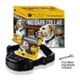 No Bark Dog Collar, Anti Bark Collar - No Harm Shock Dog Control - 7 Sensitivity Adjustable Levels for Medium Large or Small Dogs 15-120 Pound Dogs