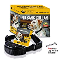 Anti Bark Dog Collar, No Bark Collar - No Harm Shock Dog Control - 7 Sensitivity Adjustable Levels for Medium Large or Small Dogs 15-120 Pound Dogs