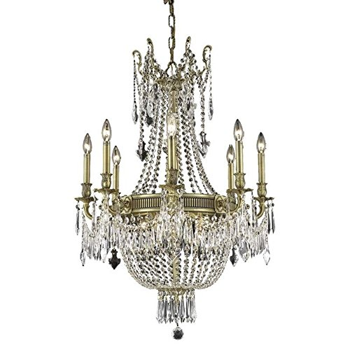 Elegant Lighting 9312D26FG/RC Royal Cut Clear Crystal Esperanza 12-Light, Single-Tier Crystal Chandelier, Finished In French Gold with Clear Crystals