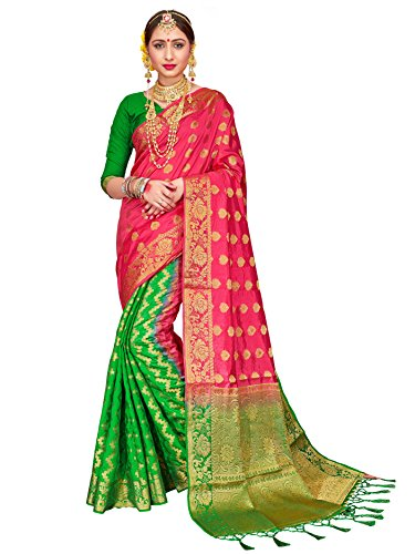 ELINA FASHION Sarees for Women Banarasi Art Silk Woven Work Saree l Indian Wedding Ethnic Wear Sari & Blouse Piece (Pink 2) by ELINA FASHION
