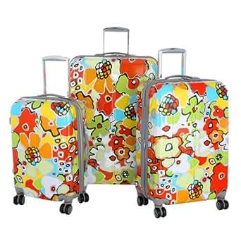 Olympia Luggage Blossom Hardside 3 Piece Luggage Set,Aqua Blue,One Size