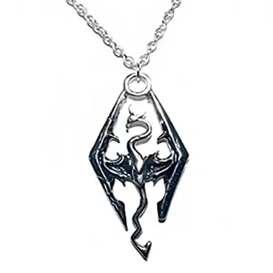 YISET the Elder Scrolls Skyrim Dragon Silvertone Pendant Necklace with 50cm Chain