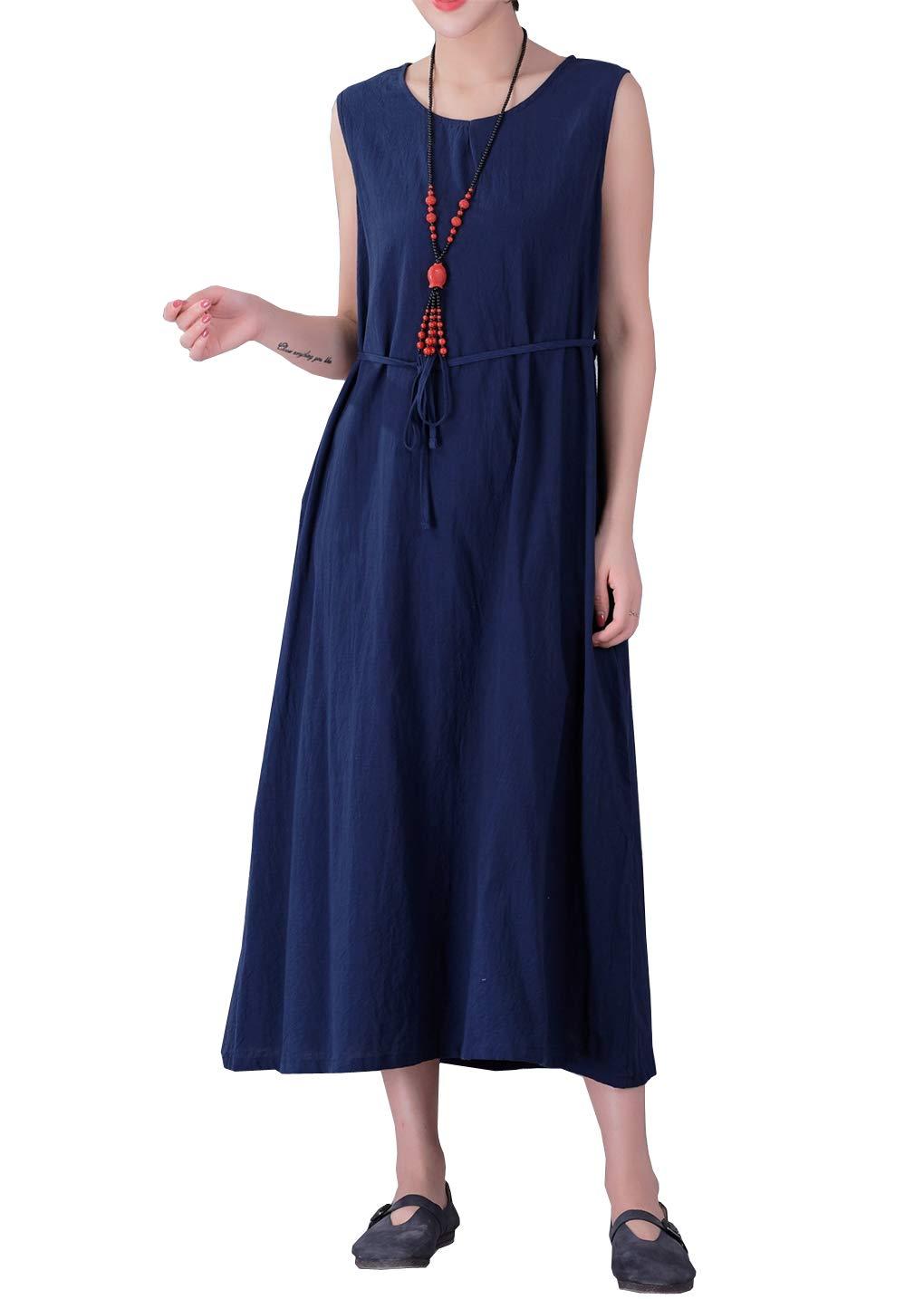 0e0f944a5944 YUHEYUHE Women's Casual Loose Summer Sundress Sleeveless Soft Long Maxi Cotton  Linen Dress Navy