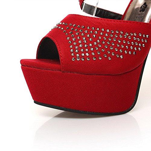 Peep Frosted Red Women's Toe Solid Stilettos Zipper Sandals Spikes WeenFashion PEOqnn7