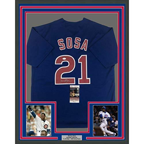 (Framed Autographed Signed Memorabilia Sammy Sosa 33X42 Chicago Blue Baseball Jersey - JSA Authentic)