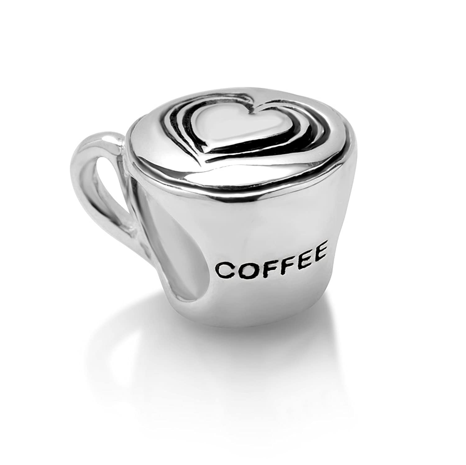 Amazoncom 925 Sterling Silver Heart Latte art Coffee Cup Bead