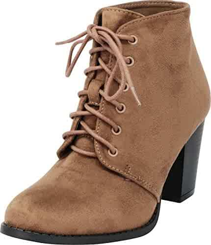 cd2f964077 Cambridge Select Women's Lace-Up Chunky Stacked Block Heel Ankle Bootie