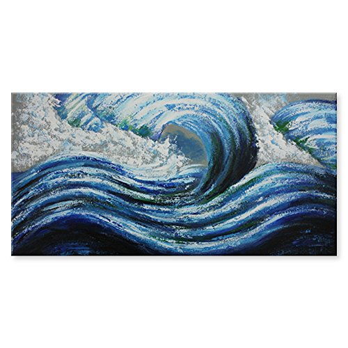 Wall Art Decoration Modern Design Landscape Handmade Sea Blue Ocean Waves Oil Painting on Canvas Art by Pallet Knife for Bedroom, 18 X 36 Inches with Frame and Stretched by IARTS