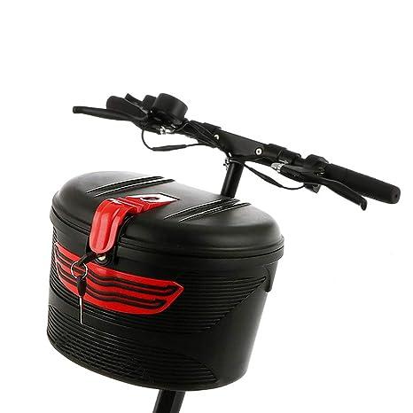 Armazón Delantero de Bicicleta eléctrica para Coche, Cesta de montaña de plástico, Almacenamiento Especial con Tapa de Bloqueo Impermeable Bolsa de ...