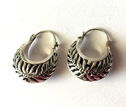 - Hobo Earrings Crescent Shape Bali Sterling Silver earrings AE61