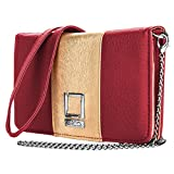 Lencca Kyma Vegan Leather Crossbody Smartphone Clutch Wallet Purse with Removable Chain Shoulder Strap - Wine/Gold