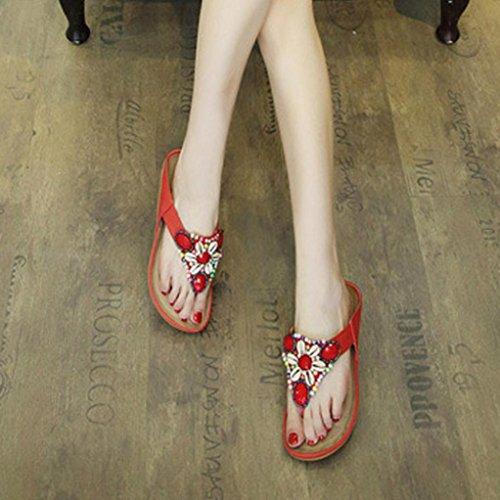 Slippe Red Toe Flat Shoes Peep Sandals Bead Bohemia Women Lady Leisure Shoes Outdoor hunpta 0wa6n
