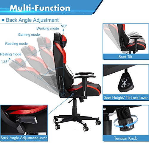 High-Back Computer Gaming Chair, Ergonomic Swivel Racing Style Bucket Seat Leather Office Chair with Detachable Neck Cushion Lumbar Support for Home Office, Red