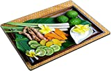 MSD Place Mat Non-Slip Natural Rubber Desk Pads Design 30194856 Exotic herb for Spa Set in a Wooden Plate