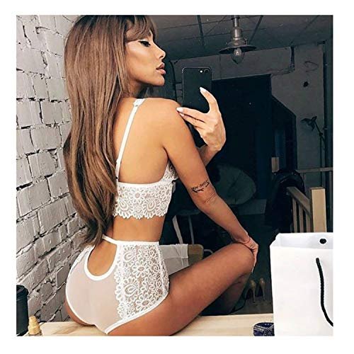New Women Lace Sexy Bra Set Seamless Embroidery Erotic Lingerie Transparent Underwear White M (Yoville Game)