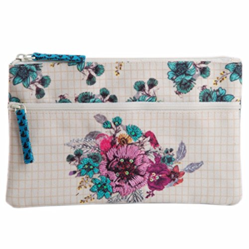 Two zipper multifunction fabric pouch purse case bag organizer travel cosmetic toiletry wallet card holder pen
