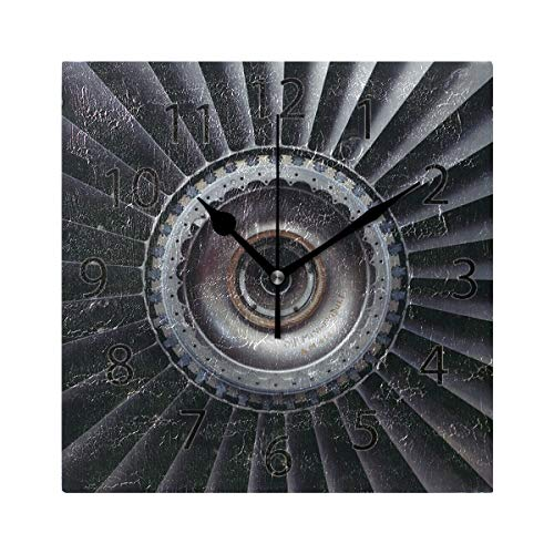 (XiangHeFu Wall Clock,Square 8x8 Inches Silent Engine Turbine Jet Airplane Decorative for Home Office)