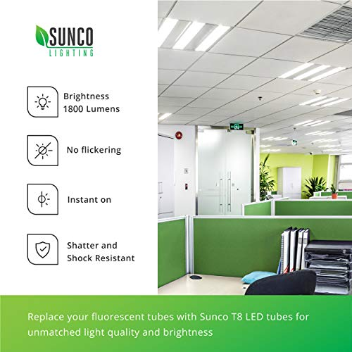 Sunco Lighting 24 Pack 4FT T8 LED Tube, 15W=32W Fluorescent, Clear Cover, 5000K Daylight, Single Ended Power (SEP), Ballast Bypass, Commercial Grade - UL & DLC Listed by Sunco Lighting (Image #5)
