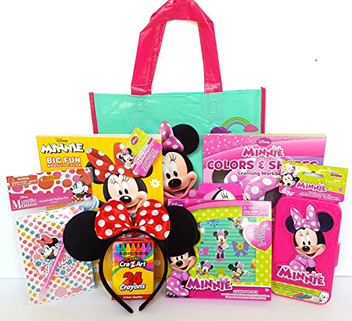 Minnie Mouse Gift Set with Minnie Mouse Ears, Journal with Pen, Educational Disney Workbook, Reusable Stickers, Tote Bag & MORE!
