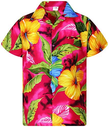 King Kameha Funky Hawaiian Shirt, Shortsleeve, Big Flower, Pink, XXL