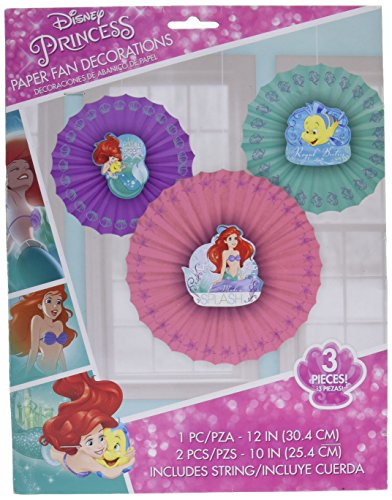 Amscan Girls Enchanting Disney Ariel Dream Big Birthday Party Hanging Paper Fan Decoration (3 Piece), Multicolor, One Size - Com Costumes Flounder