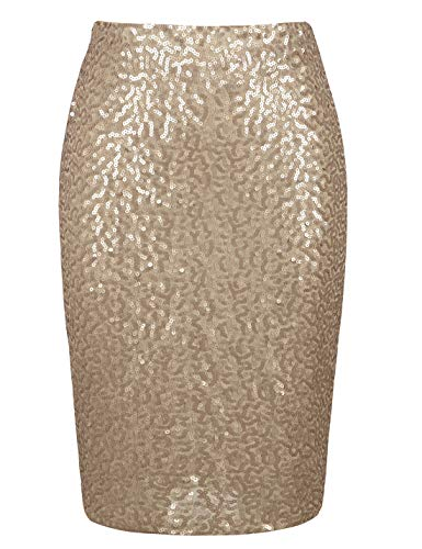 PrettyGuide Women's Sequin Skirt High Waist Plus Size Sparkle Pencil Skirt Party Cocktail XXL Matte Gold