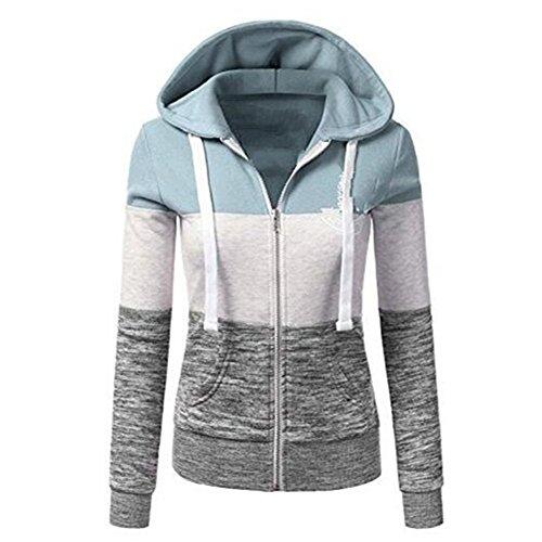 Hoodies Shirt Vestes Automne Sweatshirts Femme Sweat Longues Newbestyle Zipper Printemps Bleu Capuche Manches wqXpUt