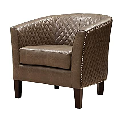 Pleasant Pemberly Row Faux Leather Accent Chair In Brown Creativecarmelina Interior Chair Design Creativecarmelinacom