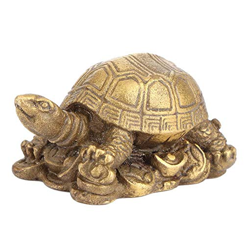 (Gold Lucky Tortoise Shape Bronze Exquisite Carving Brass Lucky Chinese Tortoise Shape Furnishing Craft Decoration)