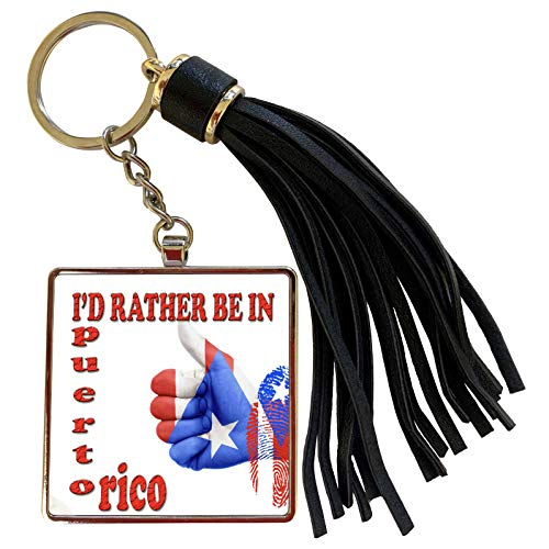 3dRose RinaPiro - Funny Quotes - Id rather be in Puerto Rico. Caribbean Island. Popular saying - Tassel Key Chain (tkc_216432_1)