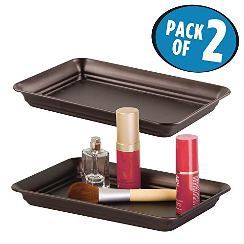 mDesign Storage Organizer Tray for Bathroom Vanity Countertops, Closets and Dressers - Holder for Guest Hand Towels, Watches, Earrings, Makeup Brushes, Reading Glasses, Perfume - Pack of 2, Bronze