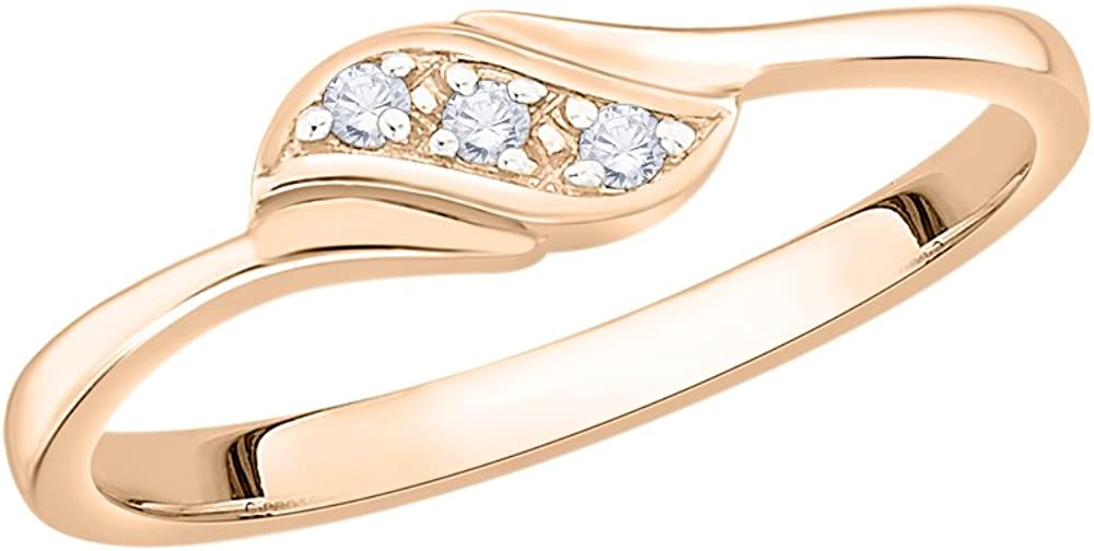 1//20 cttw, G-H,I2-I3 3 Diamond Promise Ring in 10K Pink Gold Size-11.75