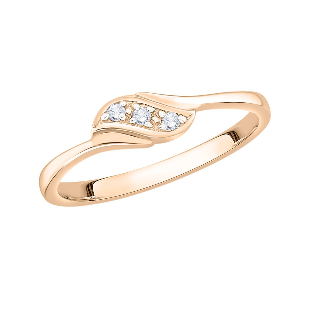 3 Diamond Promise Ring in 10K Pink Gold G-H,I2-I3 Size-10.75 1//20 cttw,