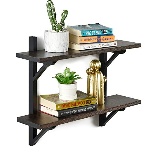 WELLAND Rustic Wall Shelf for Bathroom| 2 Tier Floating Shelf for Kitchen and Bedroom| Solid Pine Wood & Brackets| Espresso Finish| 23.6