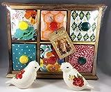 The Pioneer Woman Flea Market 6-Drawer Spice/Tea Box + Vintage Floral Bird Salt and Pepper Shaker Set Bundle