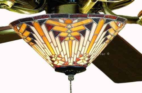 stained glass ceiling fan Tiffany Street 25038 Navajo Mission Stained Glass Ceiling Fan Kit  stained glass ceiling fan