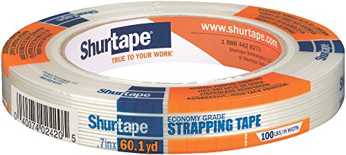 Shurtape GS 490 Economy Grade Fiberglass Reinforced Strapping Tape, 18mm x 55m, Clear, 1 Roll (104476)