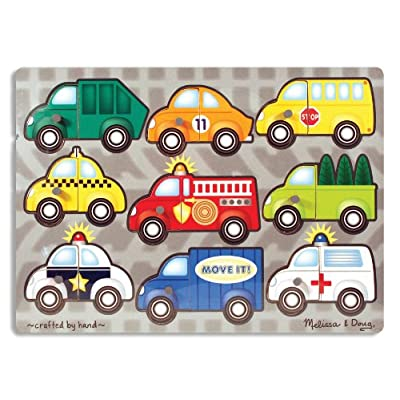 Melissa & Doug Vehicles Mix 'n Match Wooden Peg Puzzle (9 pcs): Melissa & Doug: Toys & Games