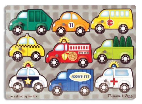 Car Puzzle Vehicle - Melissa & Doug Vehicles Mix 'n Match Wooden Peg Puzzle (9 pcs)