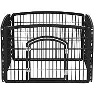 IRIS 24'' Exercise 4 Panel Pet Playpen with Door, Black