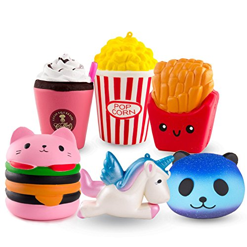 R ? HORSE Cute Unicorn, Hamburger, Popcorn Set Kawaii Cream Scented Squishies Slow Rising Decompression Squeeze Toys for Kids or Stress Relief Toy Hop Props, Decorative Props Large (6 Pack)