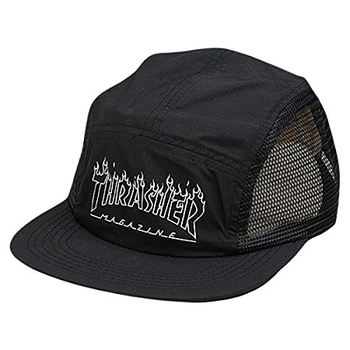 Thrasher Magazine Flame Outline Black 5 Panel Hat - Adjustable