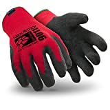 HexArmor 9011-L Level 6 Series SuperFabric Cut Resistant Gloves with Wrinkle Rubber Palm Coating, Large, Red/Black